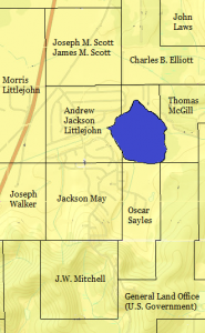 Property owners in and around the present day Scott Lake community, 1871. This is superimposed over a present day (2014) map.