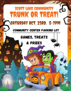 Scott Lake Trunk or Treat Event @ Scott Lake Community Center Parking Lot